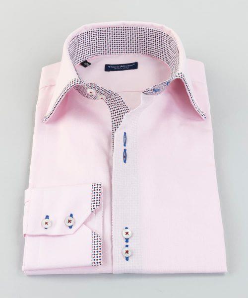 French Collar Shirt Pink Oxford Hem Vittorio Marchesi