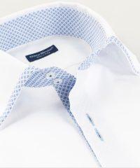 French Collar Shirt White Oxford Hem Vittorio Marchesi