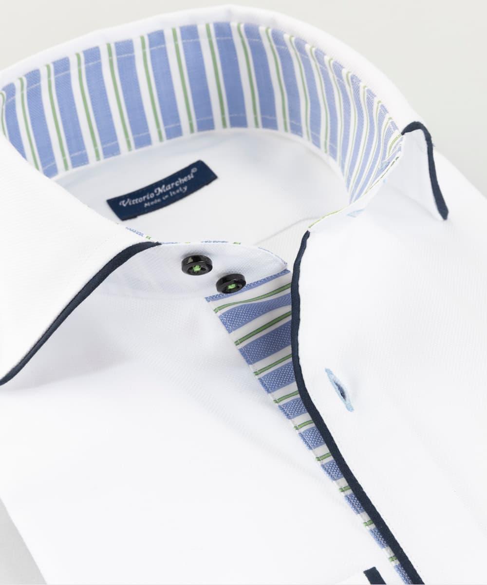 French Collar Shirt White Oxford Piping Vittorio Marchesi